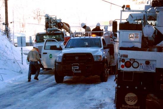 Crews in Lansing, Ashe County