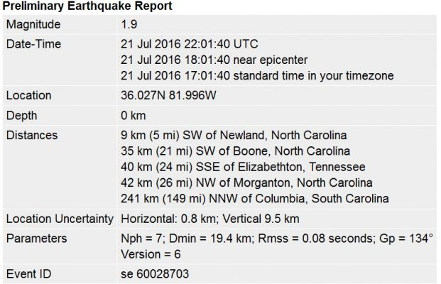 Thurs July 21 2016 earthquake details