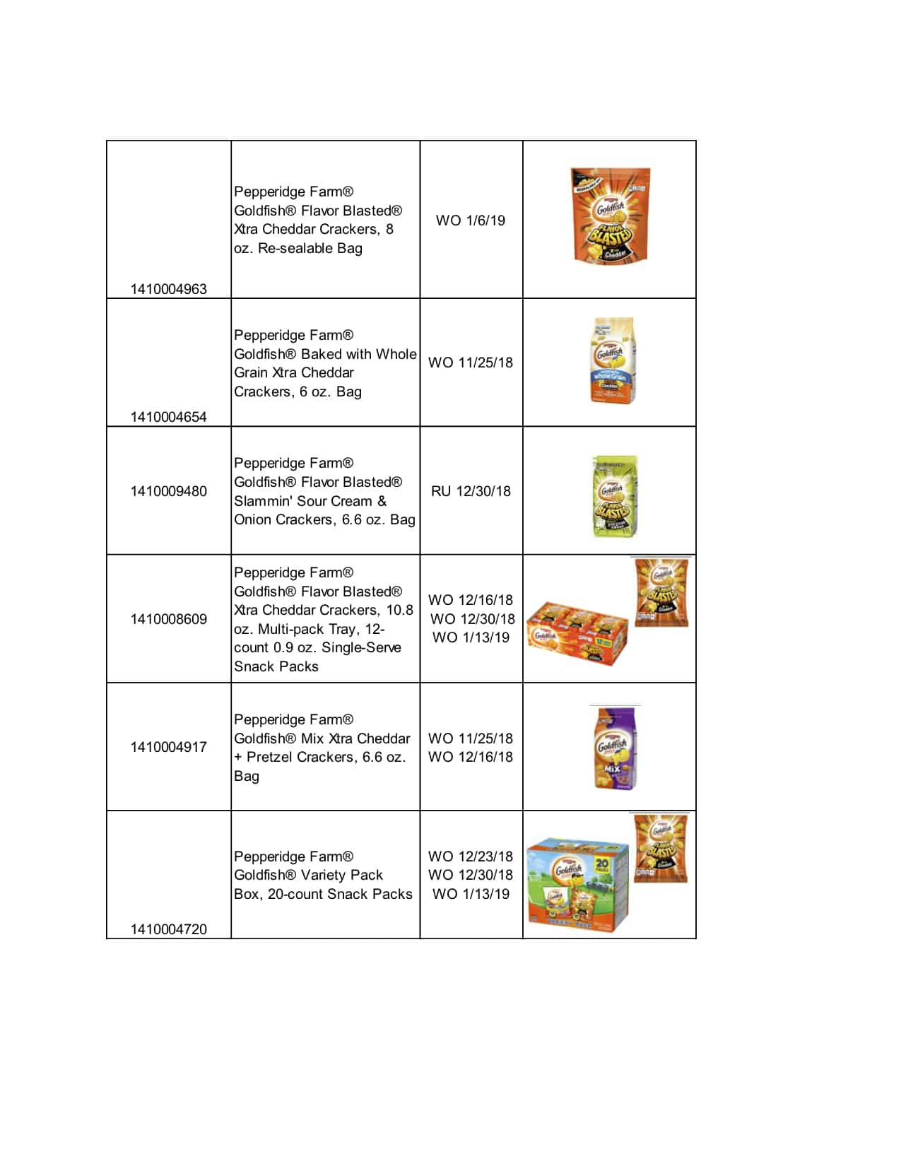 recall on goldfish crackers list