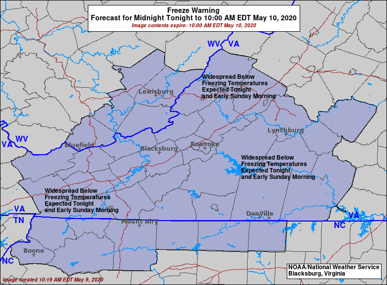 Freeze Warning in effect midnight to 10am Sunday - May 10, 2020